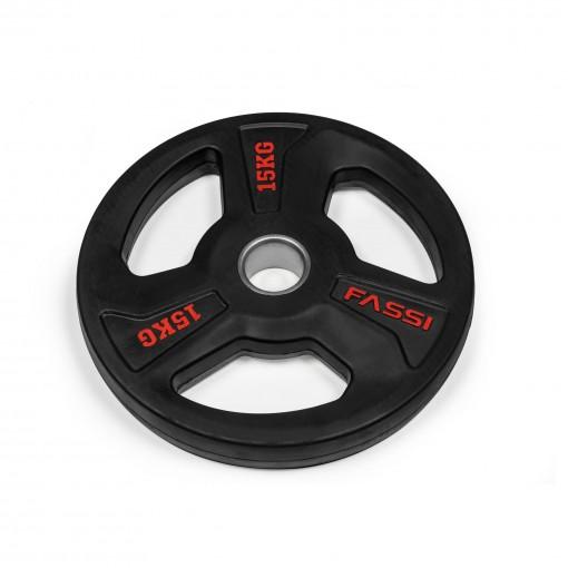 Disco Olimpionico gommato professionale  15 kg Fassi